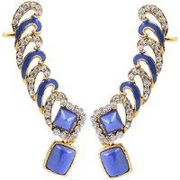 Kriaa Blue Meenakari Austrian Stone Gold Finish Ear Cuff - 1305619