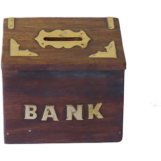 VAP MART Wooden Handicrafts Hut Shaped Piggy Money Bank
