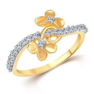 Vighnaharta Alyssum Flora (CZ) Gold and Rhodium Plated  Ring
