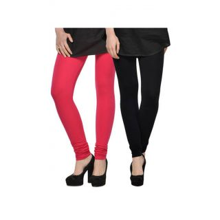 Getkot India Pink And Black Cotton Leggings