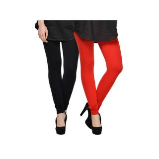 Getkot India Red And Black Cotton Leggings