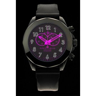 Android Euxene 2 AD454BPU 48MM Chronograph Swiss Quartz Pink Dial Black Rubber
