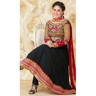 Kareena Black And Maroon Pure Georgette Anarkali Suit