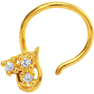 Mahi Gold Plated Le Beau Nosepin with CZ for Women NR1100146G