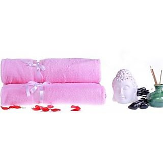 Marwal Cotton Bath Towel Set(2 Piece of Bath Towels, Pink)