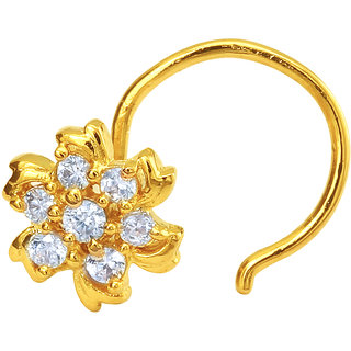 Mahi Gold Plated Swirly Fleur Nosepin with CZ for Women NR1100140G