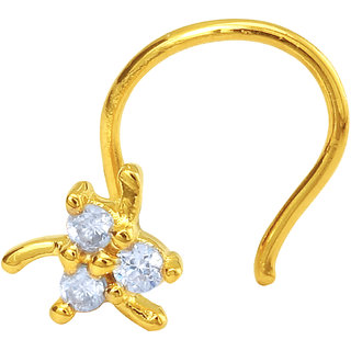 Mahi Gold Plated Auric Charm Nosepin with CZ for Women NR1100151G