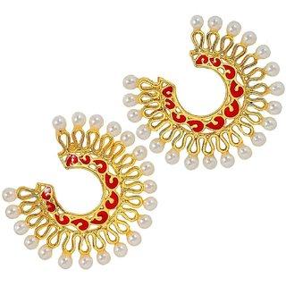 The Jewelbox Chaand Bali Filigree Gold Plated Red Meenakari Pearl Earring For Women