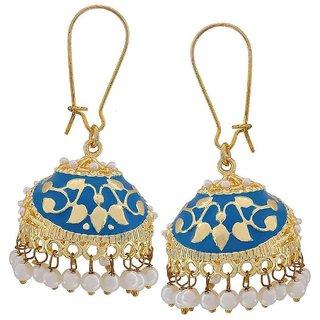 The Jewelbox Flower Gold Plated Blue Meenakari Jhumki Earring for Women