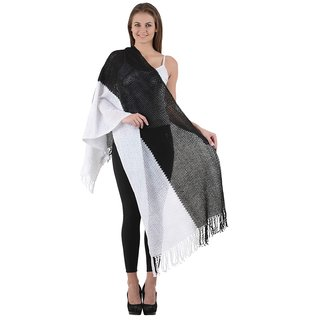iLiv Black and white Wool stole-wool5050Black