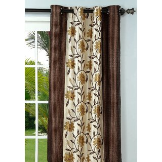 Polyester Multicolor Floral Eyelet Door Curtain