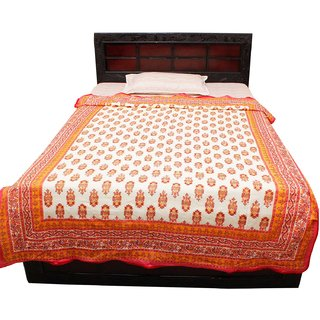 Halowishes Jaipuri Gold Print Floral Design Cotton Single Bed Duvet Dohar -606