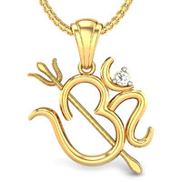 Candere Shiv Om Diamond Pendant Yellow Gold 18K