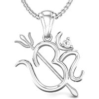 Candere Shiv Om Diamond Pendant White Gold 18K