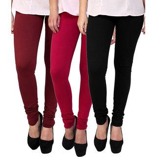 Stylobby Maroon Pink Black Cotton Lycra Pack Of 3 Leggings