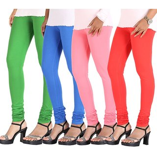 Stylobby Multi Color Cotton Lycra Pack Of 4 Leggings (Green-SkyBlue-B Pink-Oran)
