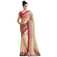 Janasya Beige Saree With Unstitched Blouse