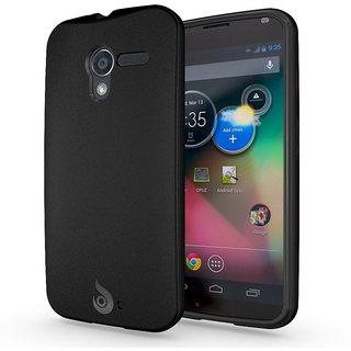Matte Back Black Flexible TPU Case for Moto X / Motorola X Phone (2013) - Retail