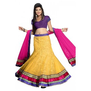 Florence Beautiful Yellow And Pink Net Velvet Lehenga (AN1006)