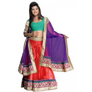 Florence Awesome Red And Violet Net Brocade Lehenga (AN1009)