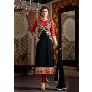 Thankar Latest Designer Black  Red Straight Suit