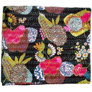Kantha Quilt, Handmade Kantha Work Printed Bed Sheets, Bed Covers Online