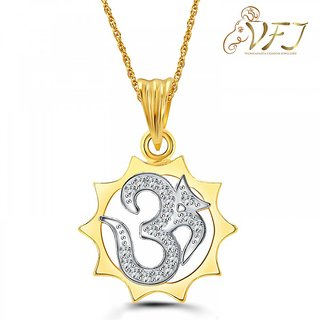 Vighnaharta Lord Surya Om CZ Gold and Rhodium Plated Pendant