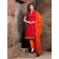 Sareemall Dark Orange Dress Material with Matching Dupatta BND14006