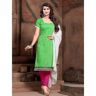 Sareemall Light Green Dress Material with Matching Dupatta BND14002