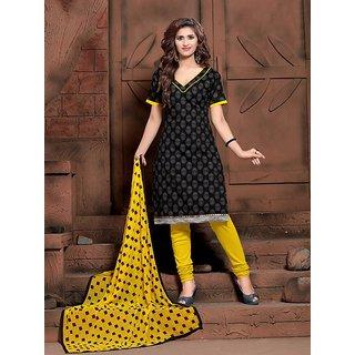 Sareemall Beige Polycotton Lace Salwar Suit Dress Material