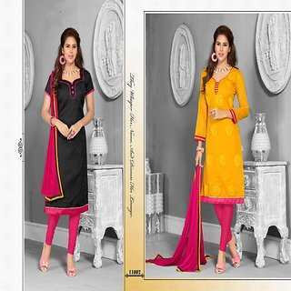 Sareemall Black and Yellow 2 top and 1 bottom with Matching Dupatta ONE11002A-B