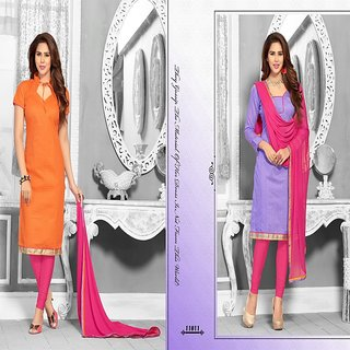 Sareemall OrangeandLight Purple 2 topand1 bottom with Matching Dupatta ONE11A-B