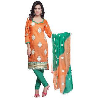 Sareemall Orange Dress Material with Matching Dupatta 244-01