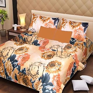 AKASH GANGA MULTI COLOUR  COTTON BEDSHEET WITH 2 PILLOW COVERS (AG1062)