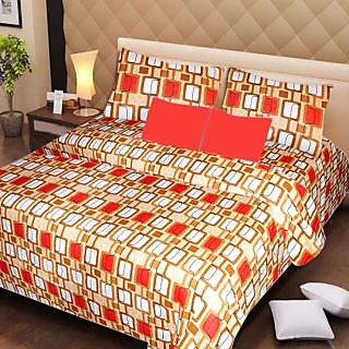AKASH GANGA MULTI COLOUR  COTTON BEDSHEET WITH 2 PILLOW COVERS (AG1063)