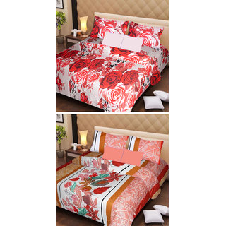 AKASH GANGA MULTI COLOUR  COTTON BEDSHEET WITH 2 PILLOW COVERS (AG1068)