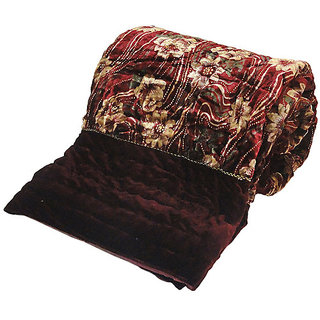 Marwal Ethnic Floral Maroon Double Bed Velvet Quilt