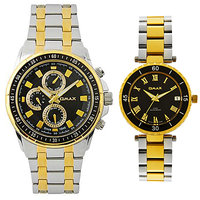 Omax Combo of Stainless Steel Two Tone Couple Watch