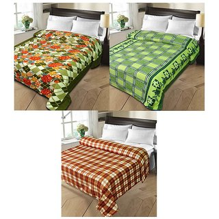 iLiv MultiColor Double Bed Ac Blankets - set of 3-1pnt2chkDB14