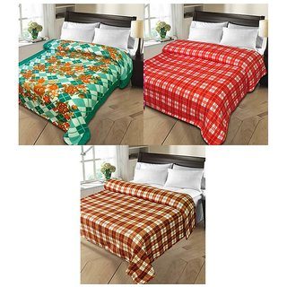 iLiv MultiColor Double Bed Ac Blankets - set of 3-1pnt2chkDB15