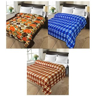 iLiv MultiColor Double Bed Ac Blankets - set of 3-1pnt2chkDB16