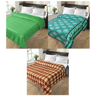 iLiv MultiColor Double Bed Ac Blankets - set of 3-2chk1dotDB04