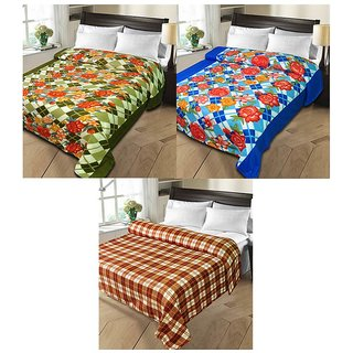 iLiv MultiColor Double Bed Ac Blankets - set of 3-2pnt1chkDB03