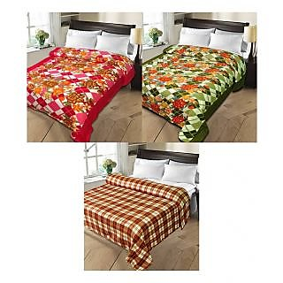 iLiv MultiColor Double Bed Ac Blankets - set of 3-2pnt1chkDB07