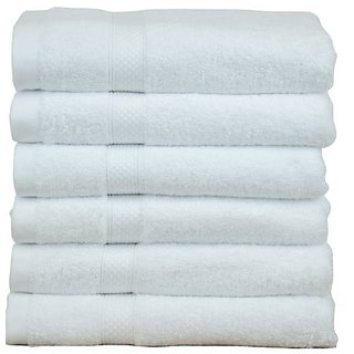 Marwal plain white full size  gents 6 bath towel