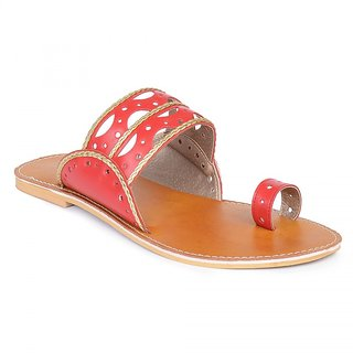 Sync-O-Fit Red Artificial Leather Kolhapuri Slip On