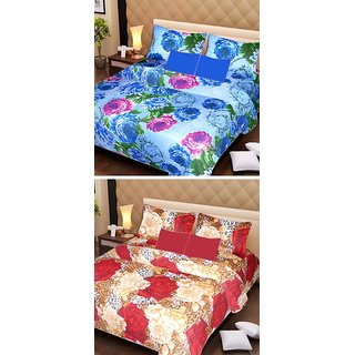 AKASH GANGA MULTI COLOUR  2 COTTON BEDSHEET WITH 4 PILLOW COVERS (AG1072)