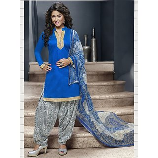 Saree Mall Blue Dress Material with Matching Dupatta 10SDP10006
