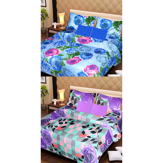 AKASH GANGA MULTI COLOUR  2 COTTON BEDSHEET WITH 4 PILLOW COVERS (AG1076)
