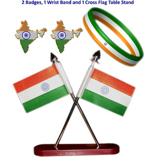 Combo of Indian cross flag, two badges and one wrist band